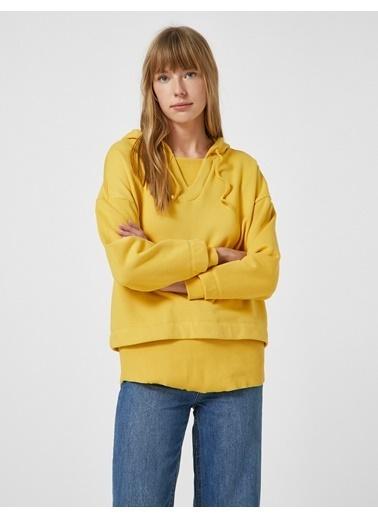Koton %100 Pamuk Oversize Sweatshirt Sarı